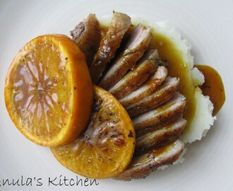Always perfect crispy duck breasts with orange sauce...