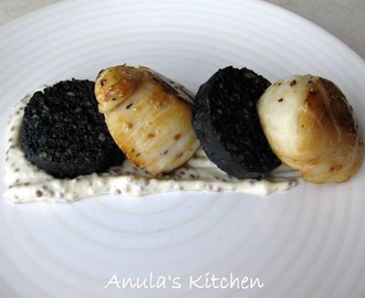 Scallops with black pudding and mustard dressing...