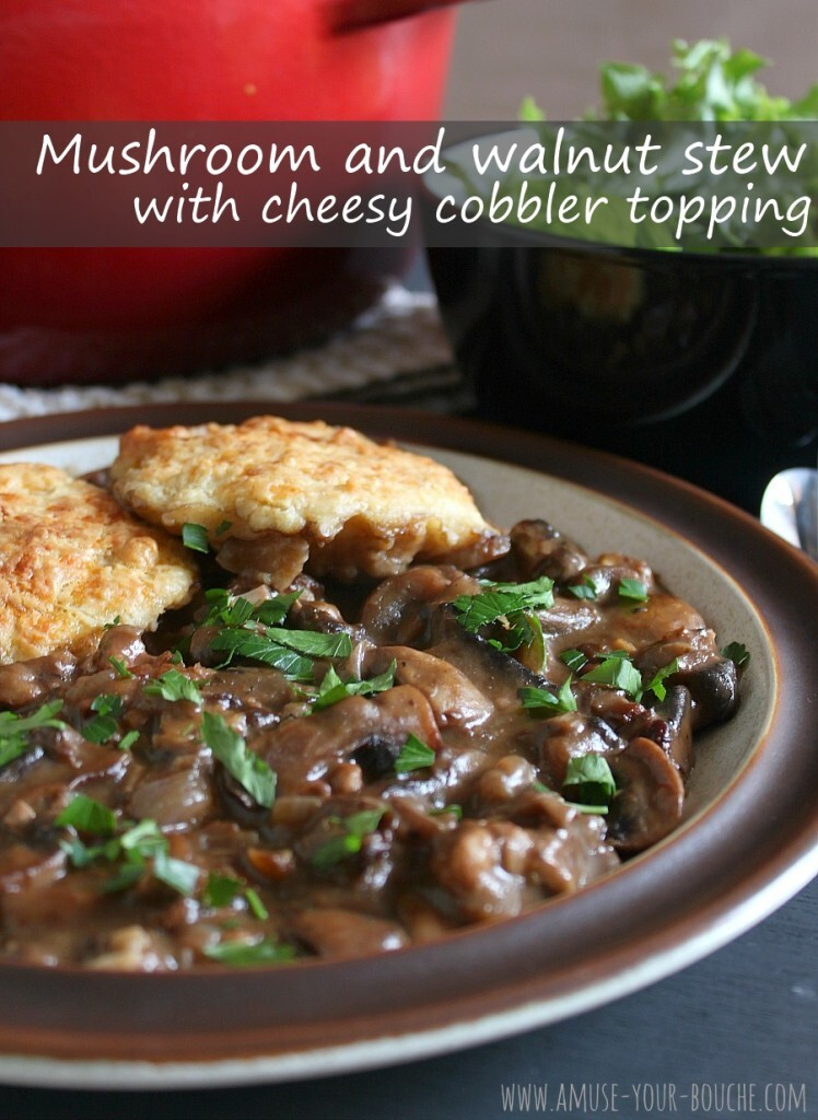 Mushroom and walnut stew with cheesy cobbler topping