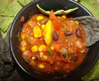 Fresh Mango Pineapple Salsa with Black beans and Corn