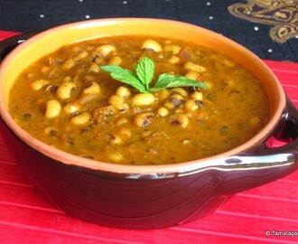 Minty Black Eyed Beans Curry ~ Alasandala Koora With Pudina