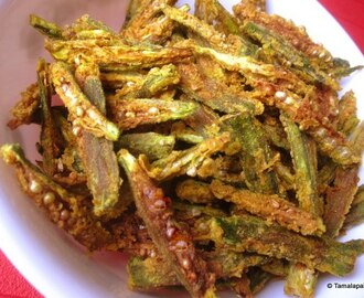 Okra(Bhendi) Crisps ~ The Microwave way!!
