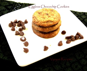 Eggless Choco Chip Cookies - With Stepwise   Pictures - Eggless Chocolate Chip Cookies