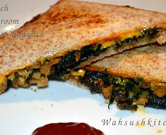 Spinach Mushroom Potato Cheese Sandwich