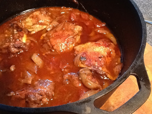 Slow-cooked Chicken thighs in red wine; soup from the leftovers!