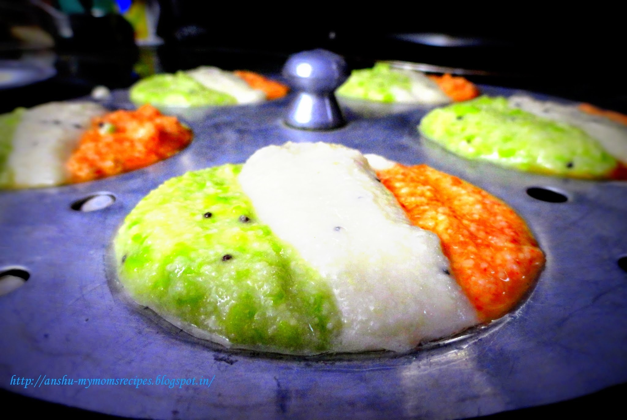 Independence Day Tricolor Idli (Tricolor Steamed Pancakes) - yeah! I know my prompt recipe :-)