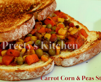 Carrot Corn & Peas Stir Fry / Sabzi (Pressure Cooker Recipe)