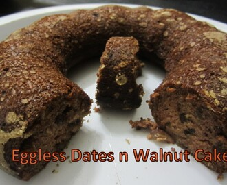 Eggless Dates n Walnut Cake