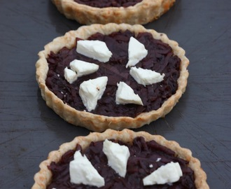 Caramelised Red Onion Tarts in a Mustard Cheese Pastry