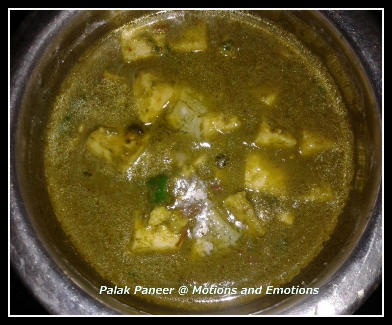 Palak Paneer (Cottage Cheese in Spinach Gravy)