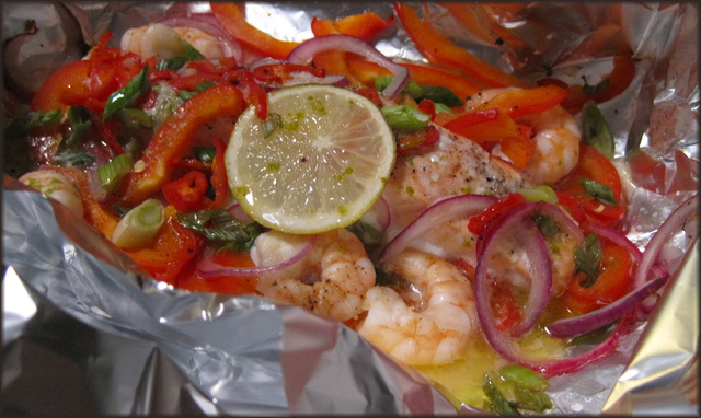 Foil Baked Salmon and King Prawns with Chilli and Lime Butter