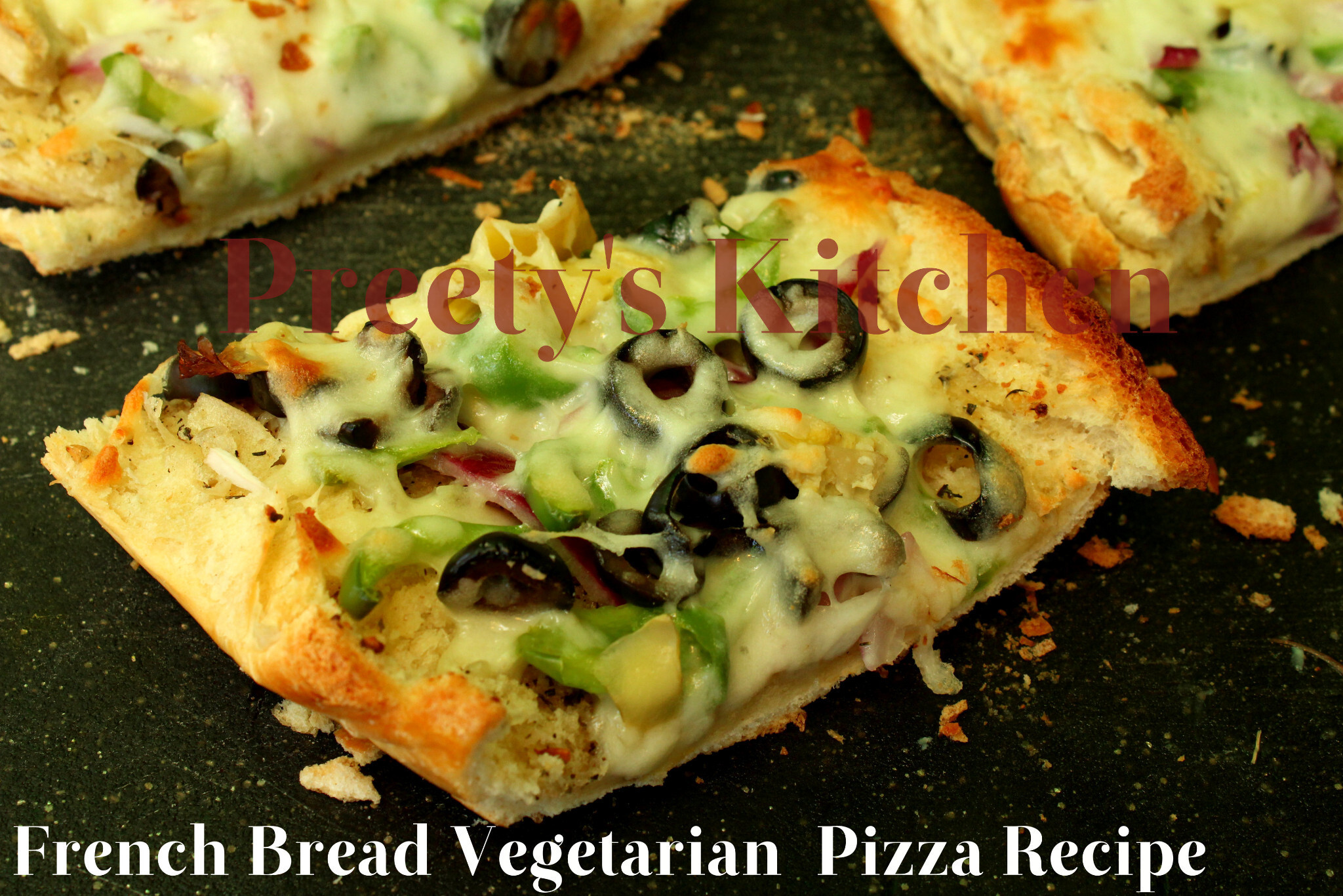 French Bread Vegetarian  Pizza Recipe ( Step By Step Pictures)