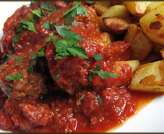 Meatballs in Tomato and Chorizo Sauce with Spicy Potatoes - Gastropub
