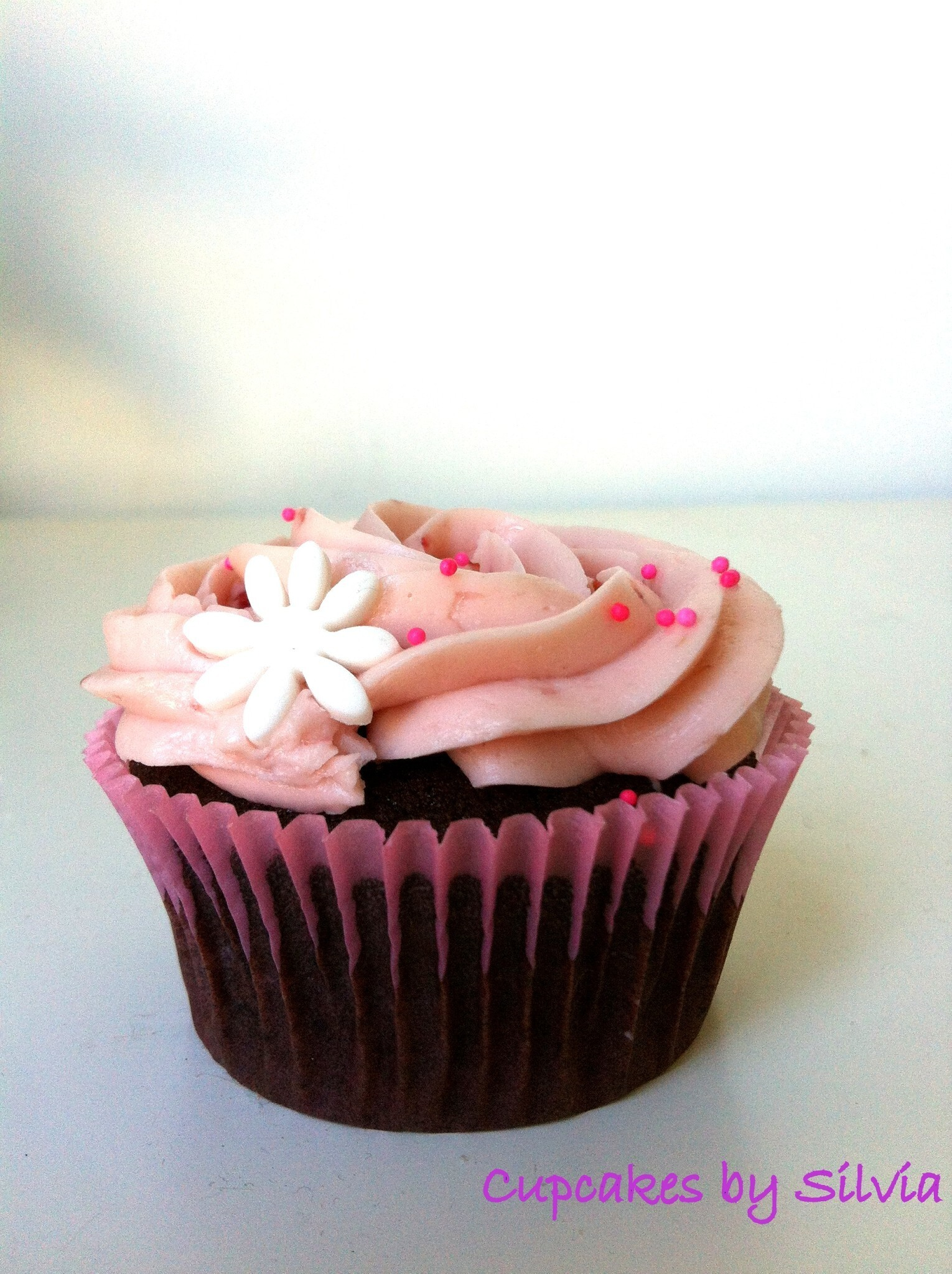 Cupcakes de Xocolata amb Buttercream Suís de Maduixes / Chocolate Cupcakes with Strawberry Swiss Buttercream