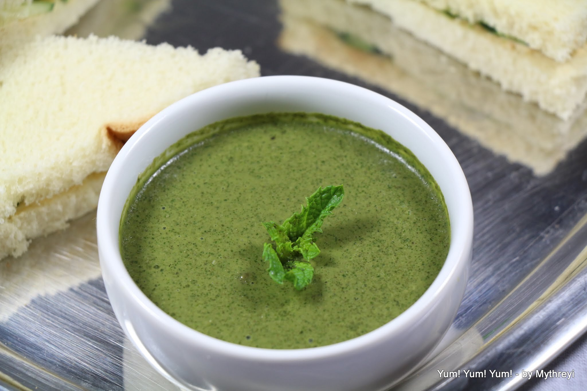 Green Mint Chutney  (for Sandwiches) ( from my Garden)
