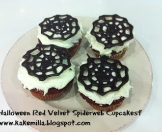 Halloween Red Velvet Spiderweb Cupcakes