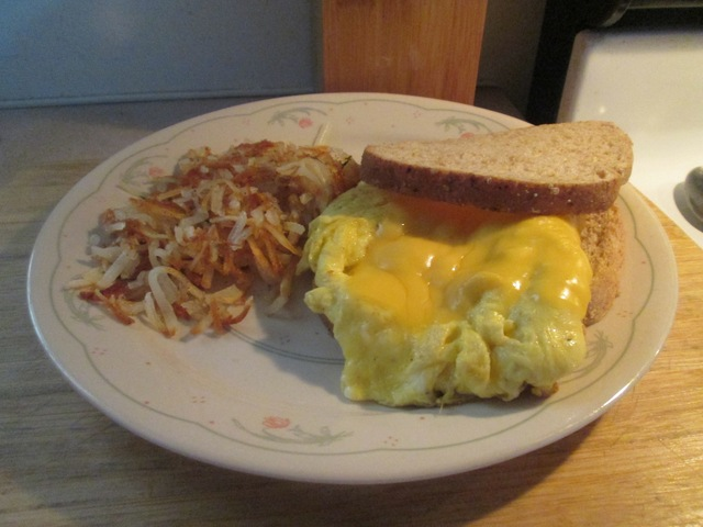 Egg Sandwich and Hash Browns