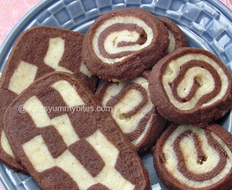 Eggless Pinwheel Cookies and  Checker board Cookies