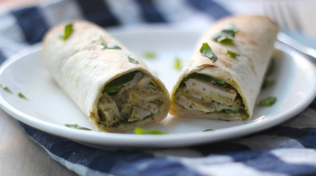 Kip-pesto wraps met spinazie