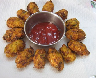 Cabbage pakoda (with leftover rice)
