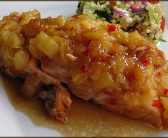 Foil Baked Salmon with Sweet Chilli and Crushed Pineapple