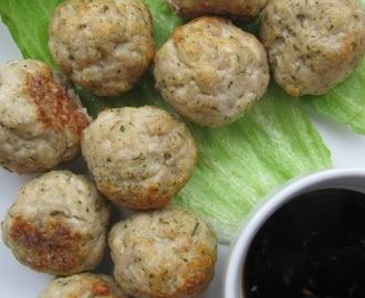 Spicy turkey meatballs with sticky dipping sauce...