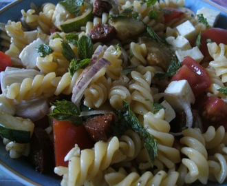 Non-rhyming Choizo Pasta Salad with Courgette and Tomatoes