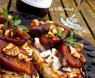 Roasted Balsamic Fig Bruschetta, Goat's Cheese & toasted Walnuts