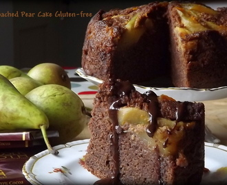 Chocolate Poached Pear Cake (Gluten-Free) with Chocolate Sauce