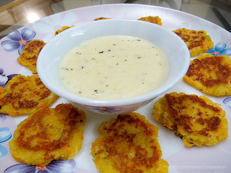Vegetable Fritters With Cheese Dip