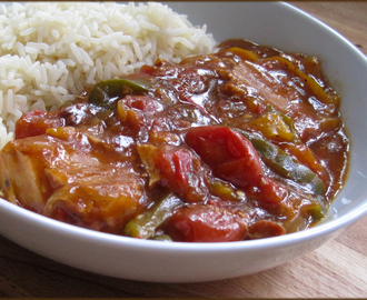 Slow Cooker Recipe - Spicy Pork with Peppers and Tomatoes