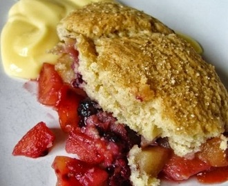 Apple, peach and blackberry cobbler... recipe by Rick Stein