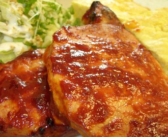 Barbecue Pork Loin Steaks with Apple, Walnut & Cress Wedge Salad and Cornbread