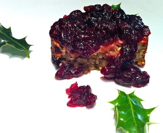 Nut roast with stilton and a cranberry glaze