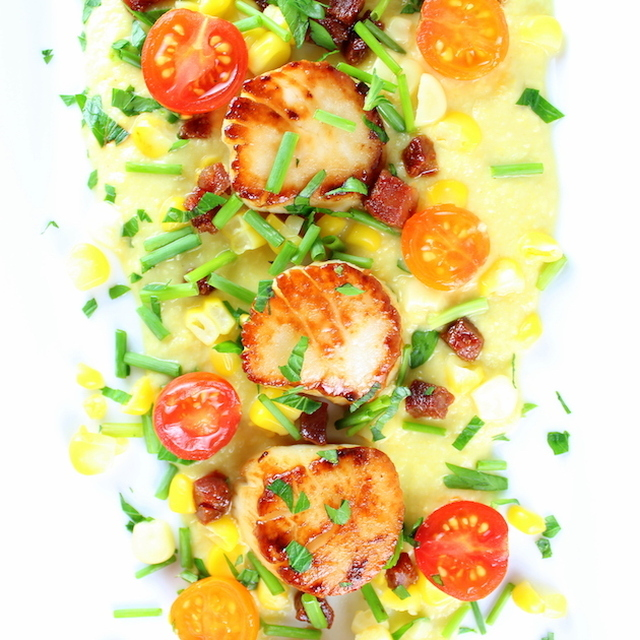 Pan-Seared Sea Scallops with Corn Puree