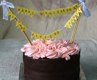 Chcolate Cake with Chocolate Frosting and Buttercream Rosettes