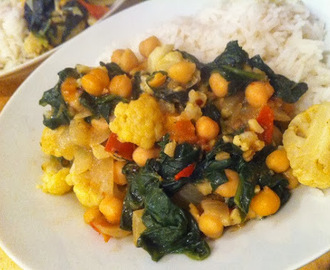 spinach, chickpea and cauliflower curry.