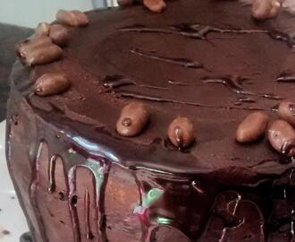 Torta de chocolate y café borracha en ron