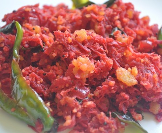 Stir-fried beetroot with lentil crumble from Chettinad (Beetroot Paruppu Usili)
