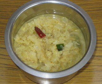 Cabbage Molagootal – Cabbage simmered with ground Coconut and Spices and cooked with lentils