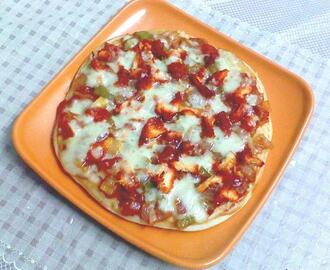 CHICKEN PIZZA USING HOME MADE PIZZA BASE