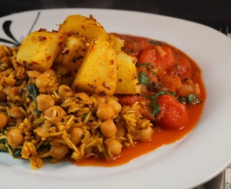 Fenugreek & Chickpea Biryani with a side of Bombay Spiced Potatoes and a Wilted Spinach & Roasted Cherry Tomato Curry Sauce