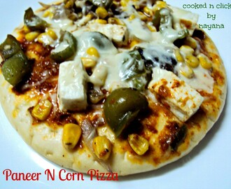Paneer And Corn Pizza ( for the Potluck Cyberstyle)