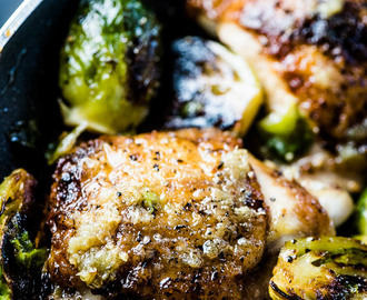 Crispy Garlic Butter Chicken and Brussels Sprouts