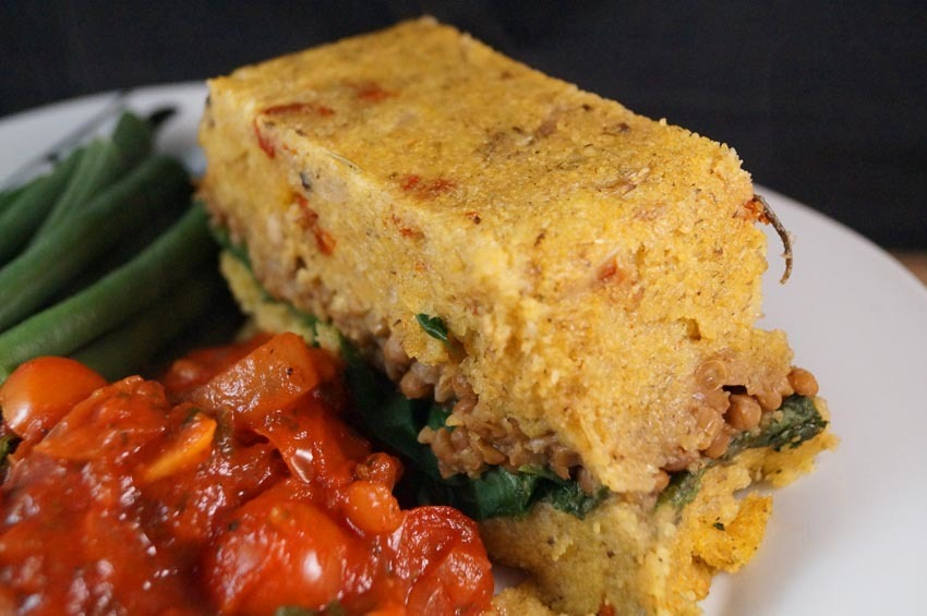 Mushroom, Spinach & Lentil Polenta Loaf served with a Tangy Tomato and Basil Sauce