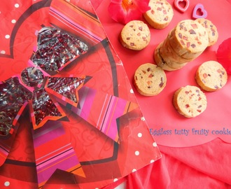 Eggless tutty fruity cookies,Valentine's special