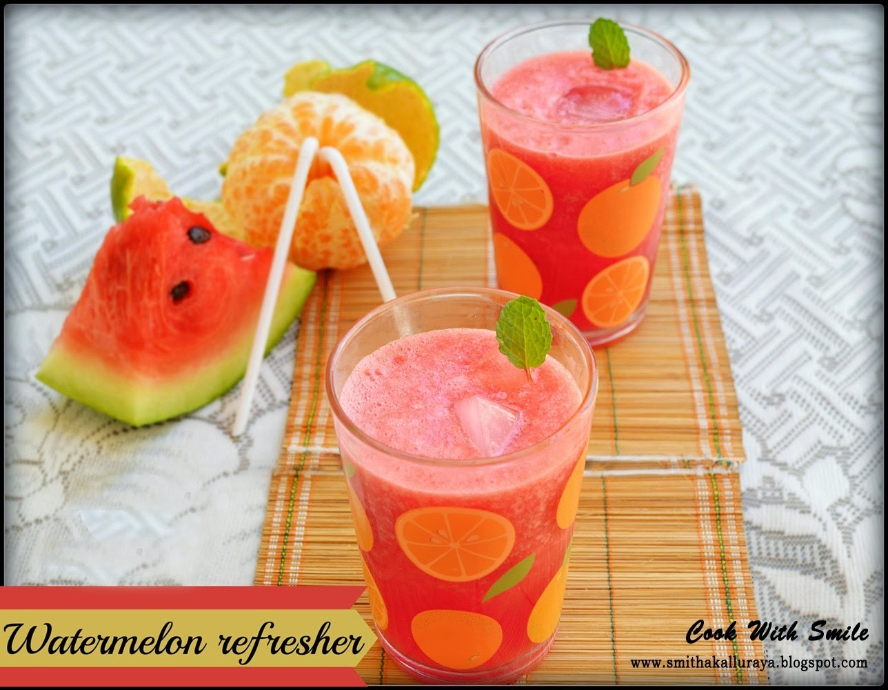 WATERMELON REFRESHER / WATERMELON AND ORANGE JUICE - SUMMER COOLER !!!
