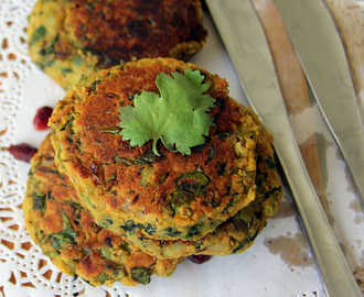 Chickpeas and spinach tikki - Chickpeas and spinach cutlet - Chana and spinach cutlet - healthy kids snack