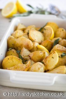 Roast potatoes with crispy sage leaves and Sicilian lemon
