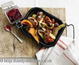 Pork Sausage and Autumn Veg Bake with Berry Jam
